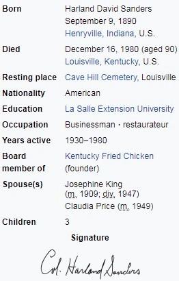 Pułkownik Sanders , emerytowany oficer Armii USA.